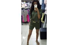 Overal short in khaki, XS-L