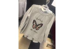 Blouse Butterfly in grey, S-L