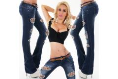 Jeans Dark Blue Washed with Belt, XS-L