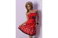 Short summer flower dress in red, S-M