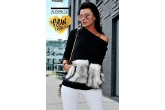 Blouse with fur in black, XS-M