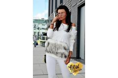 Blouse with fur in ecru, XS-M