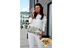 Blouse with fur in ecru, XS-M