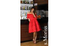 Lace dress Scarlett midi red, M-XL
