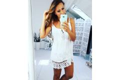 Lace top white, M-L