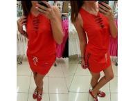 Šaty Mavia s prostřihy červené, S-M