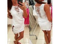 Šaty Mavia s prostřihy bílé, S-M
