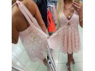 Krajkové šaty Elsa růžové, XS-S
