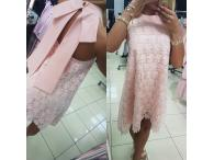 Krajkové šaty s mašlí růžové, S-M
