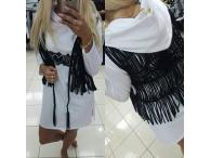 Mikina PF s kapucí a vestou bílá, S-L