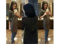 Šaty se zapínáním vzadu khaki, S-M