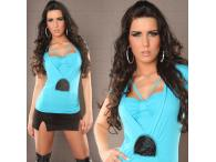 Sexy Shirt 2in1 with Pearls in turquoise