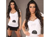 Sexy Shirt 2in1 with Pearls in white