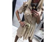 Košilové šaty Lady Gaga béžové, S-M