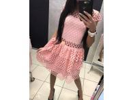 Šaty s dírami růžové, M