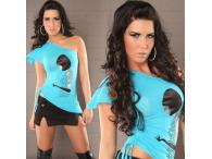 Asymmetr. Shouldertop in turquoise