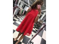 Krajkové šaty s mašlí malinové, S-L