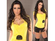 Sexy Shirt 2in1 with Pearls in yellow