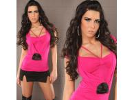 Sexy Shirt 2in1 with Pearls in fuchsia
