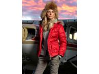 LUHTA Jacket with real fur, red, M, XL