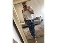 Elastické kalhoty kytičky, S, L